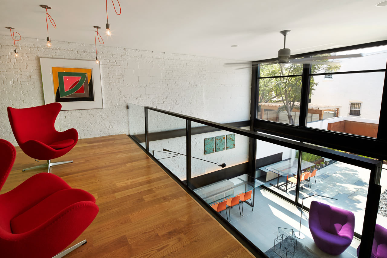 Contemporary row house with open concept living and for Best row house design