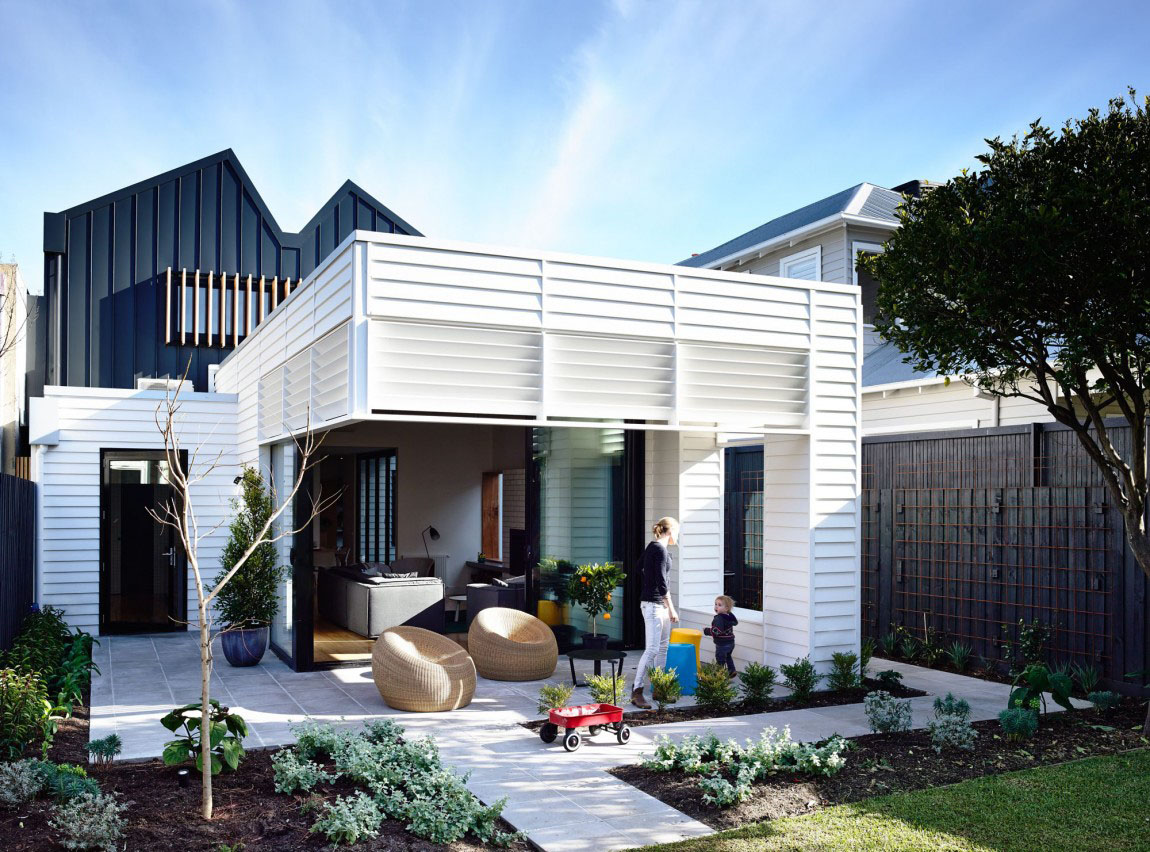 An elegant suburban modern cottage with playful interior for Weatherboard house designs