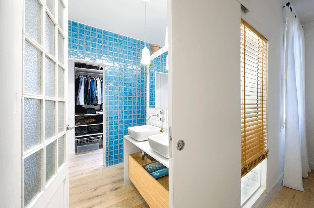 Bathroom with Turquoise Wall Tiles