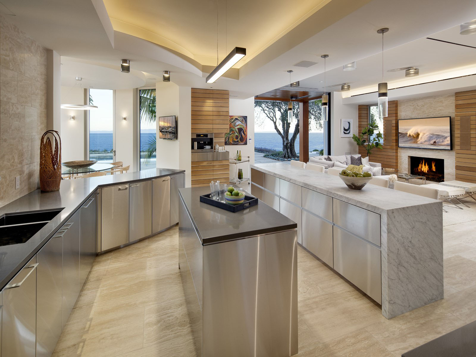 Post Modern Kitchen post-modern contemporary oceanfront mansion in santa barbara