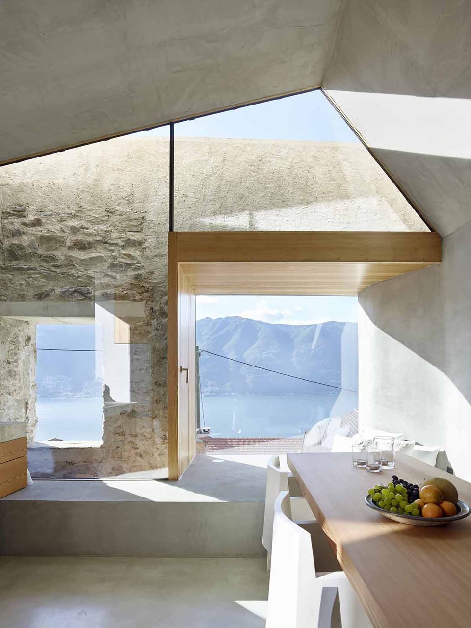 Modern Glass Windows with Old Stone Walls