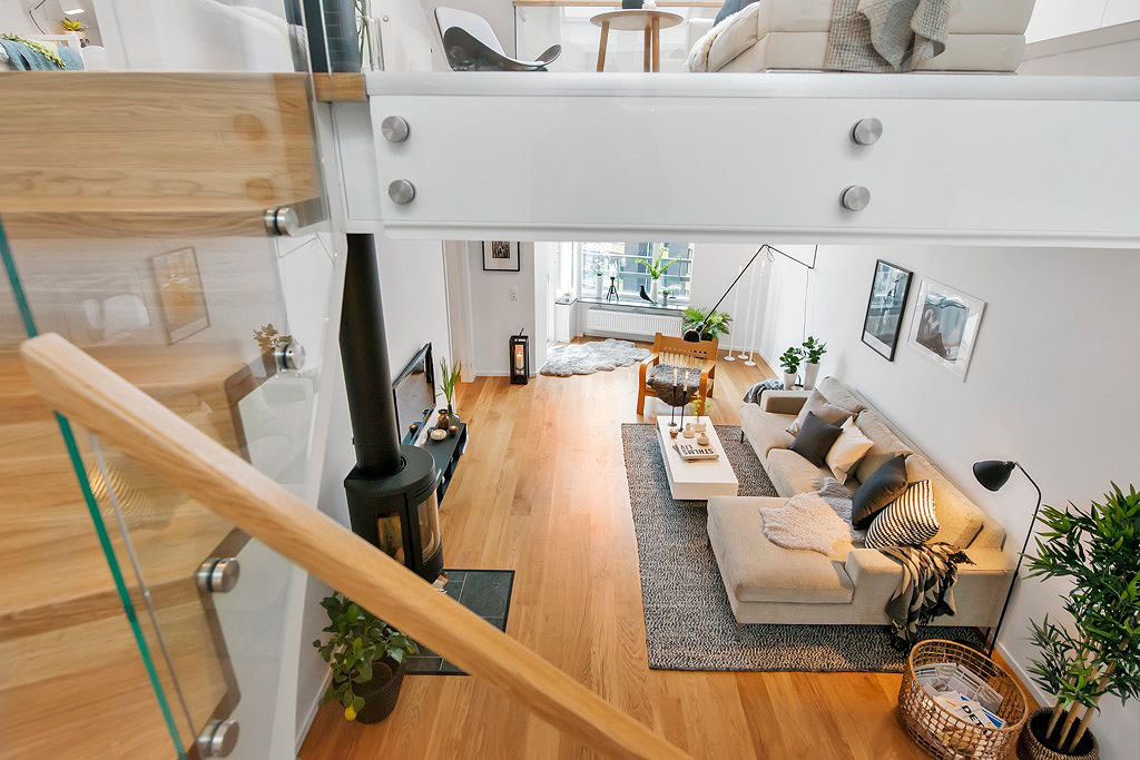 Modern duplex with casual elegant scandinavian design for Simple duplex house interior designs