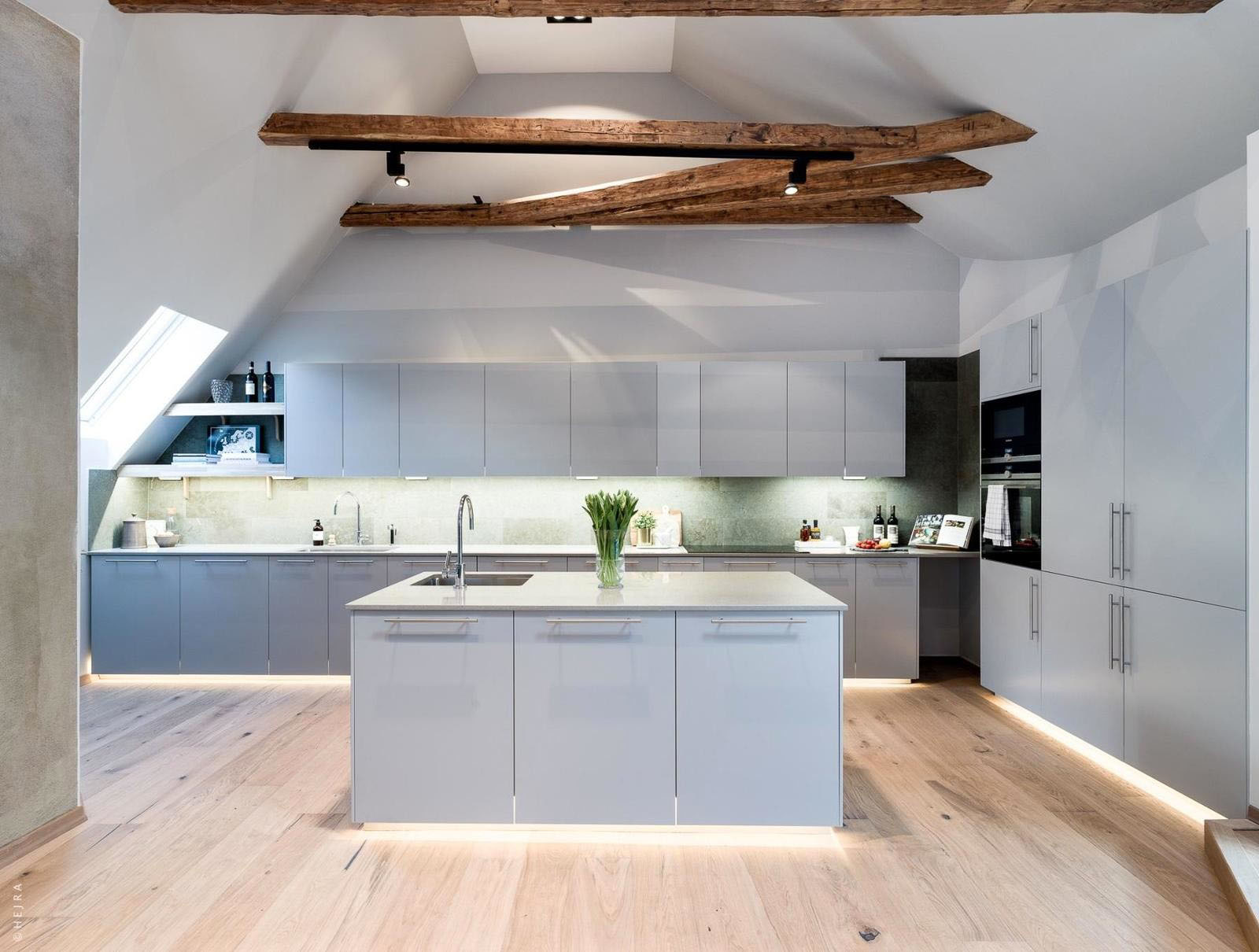 Modern scandinavian kitchen with wood beams