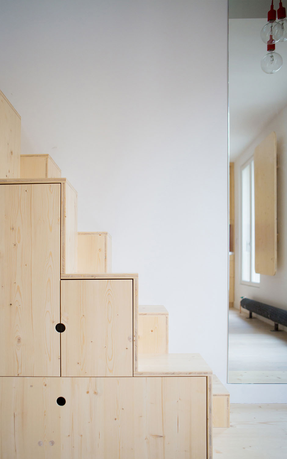 Storage Cabinets Under Wood Stairs