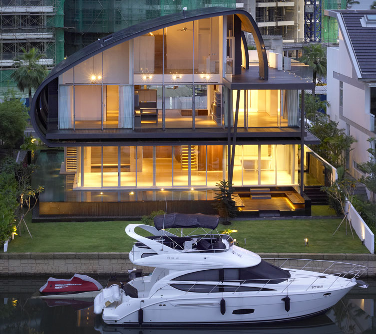 House with private boat dock by the marina