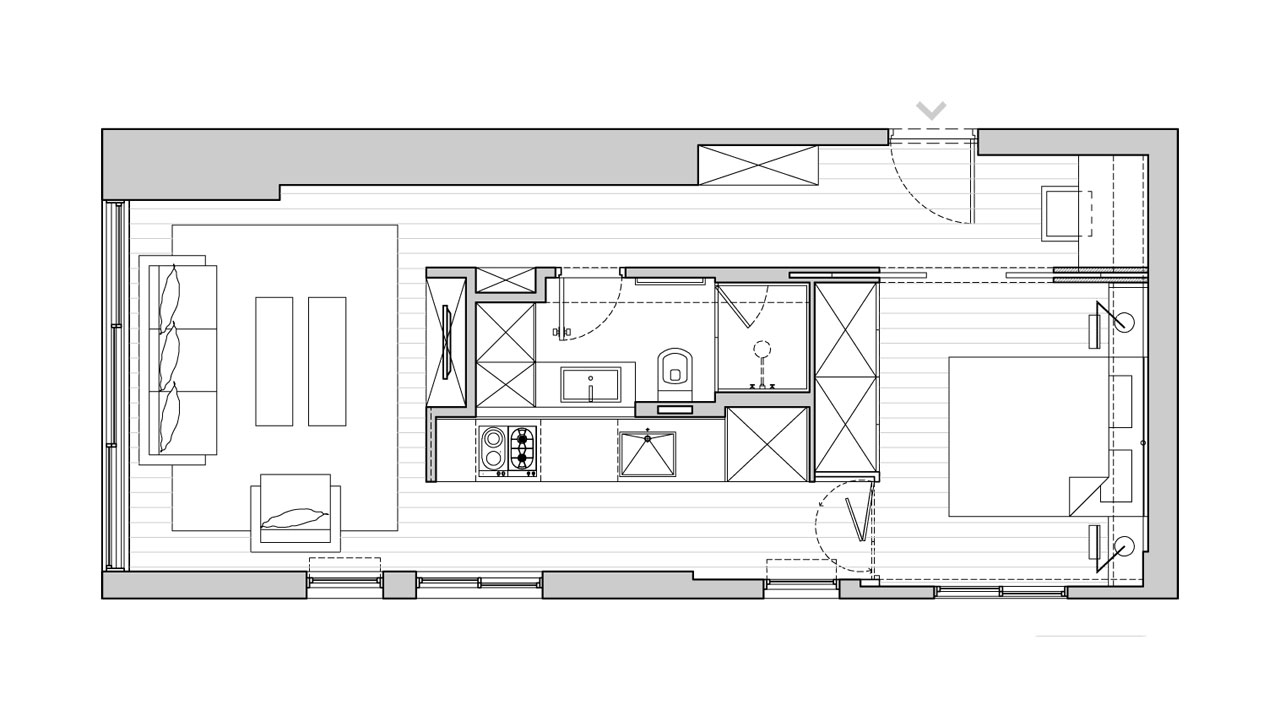 Small Apartment Floor Plan. Architect: Sfaro