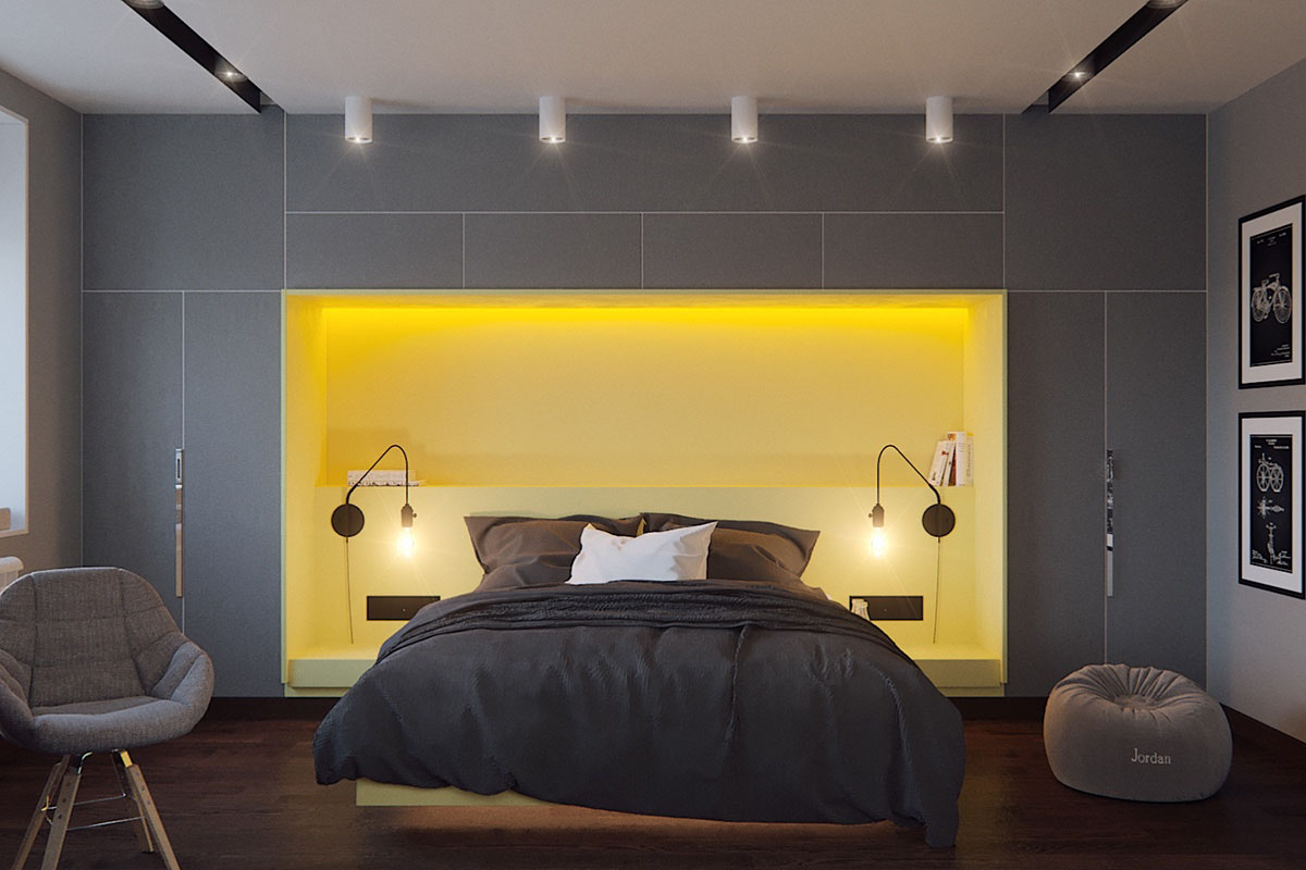 Five shades of grey bedroom design ideas idesignarch for Gray and yellow bedroom