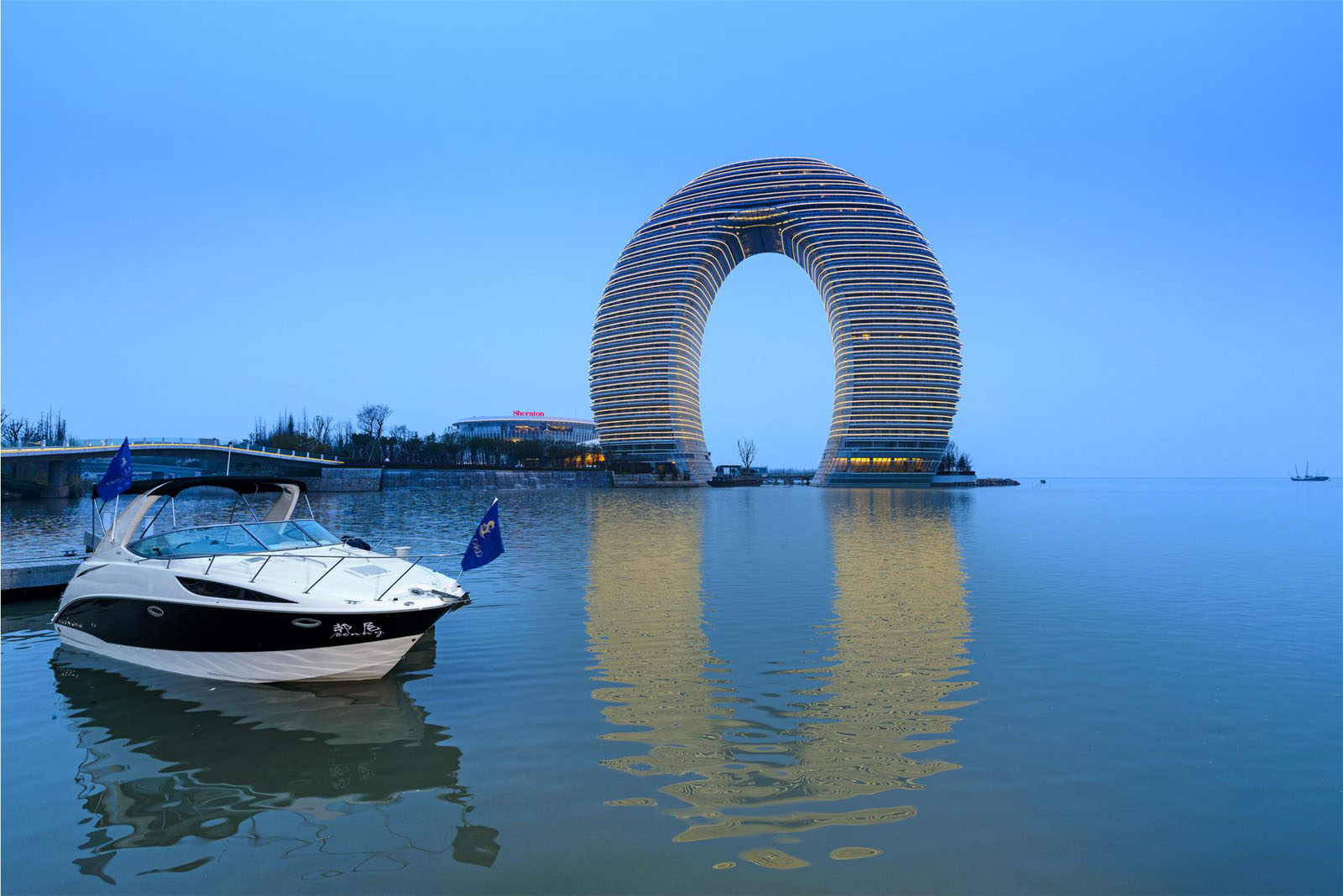 Horseshoe Shaped Hotel Resort on Lake Taihu