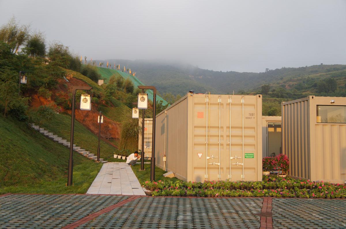 xiang xiang xiang pray house shipping container hotel beijing firm tonghe shanzi landscape design