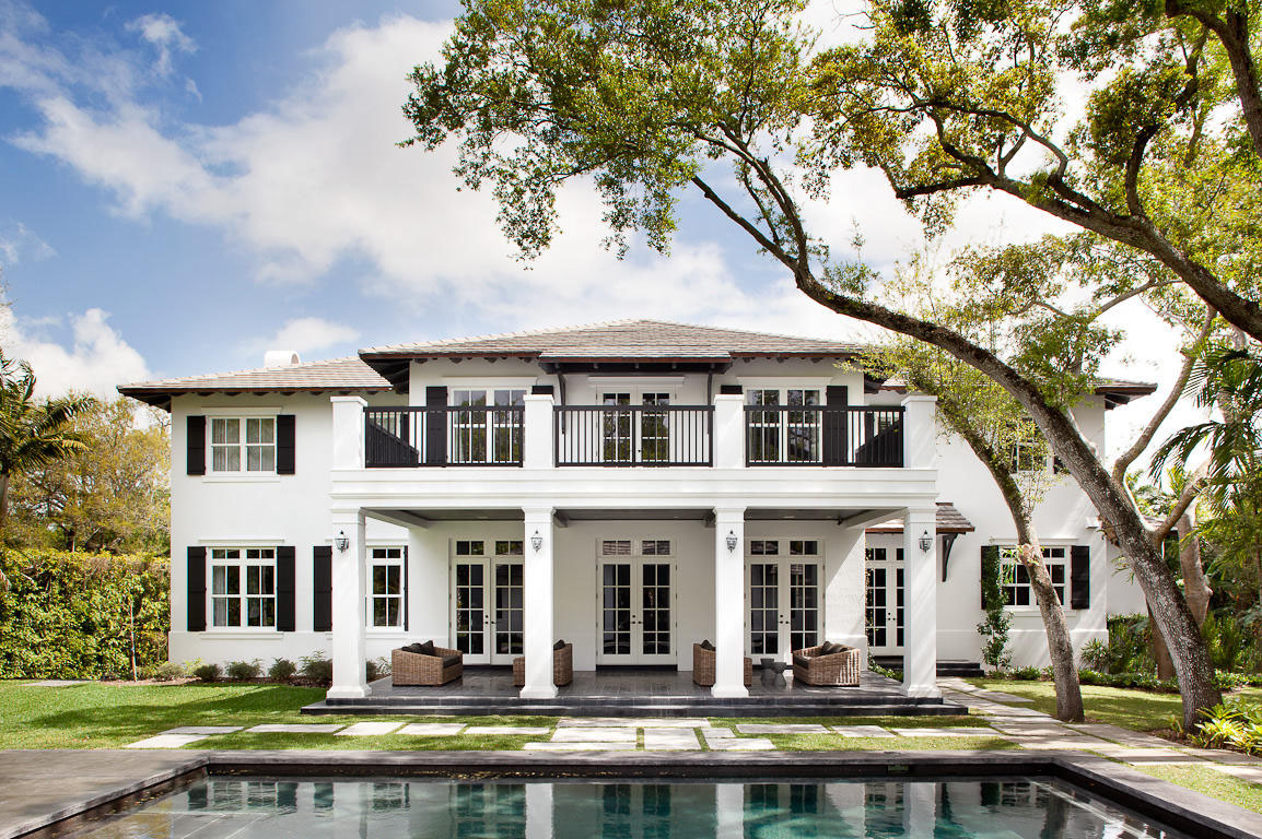 Neoclassical style miami home with pool pavilion for Modern florida homes