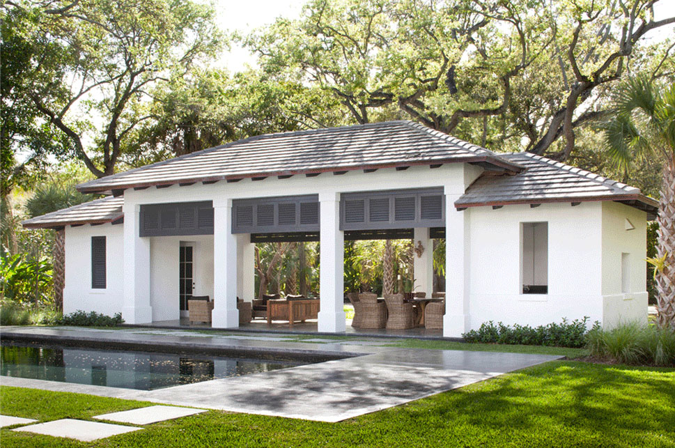 Neoclassical style miami home with pool pavilion for New home plans that look old
