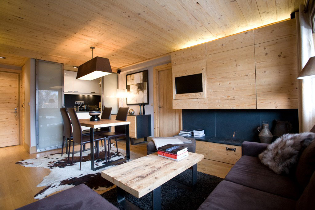 Small Apartment with Natural Wood Decor