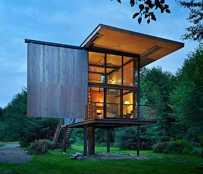 Low-Maintenance Prefab Tiny Steel Country Cabin | Idesignarch