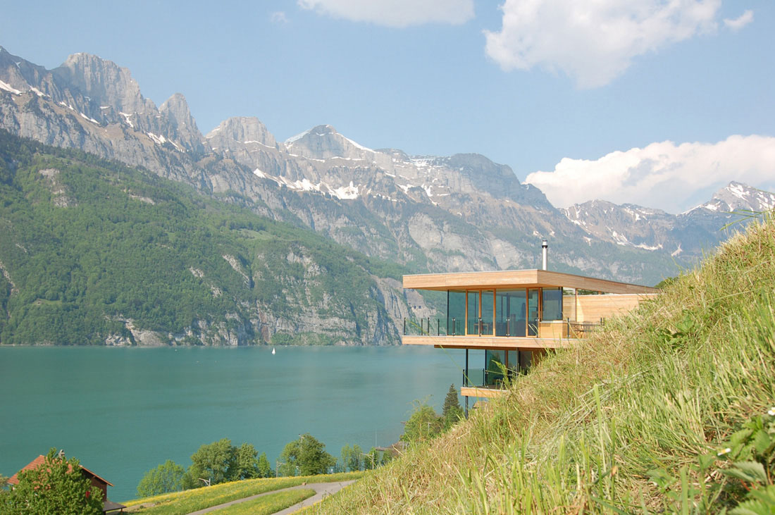 Modern house by the lake in switzerland idesignarch for The lake housse