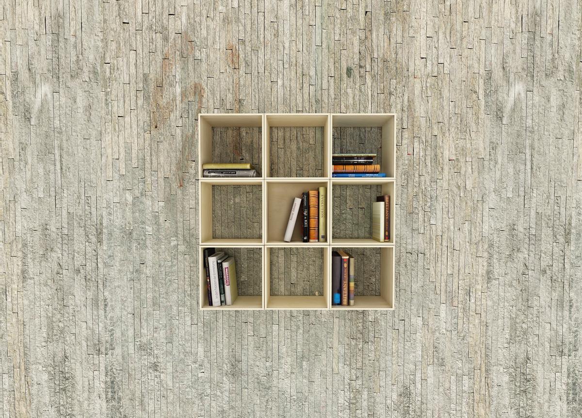 Movable squaring bookshelf idesignarch interior design - Wall mounted bookshelf designs ...