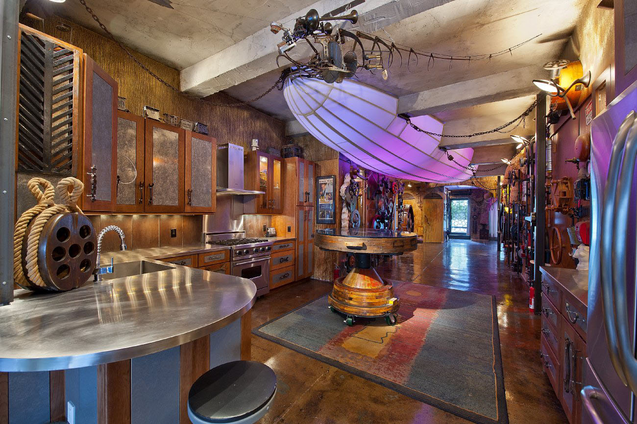 retro futuristic steampunk loft apartment in new york