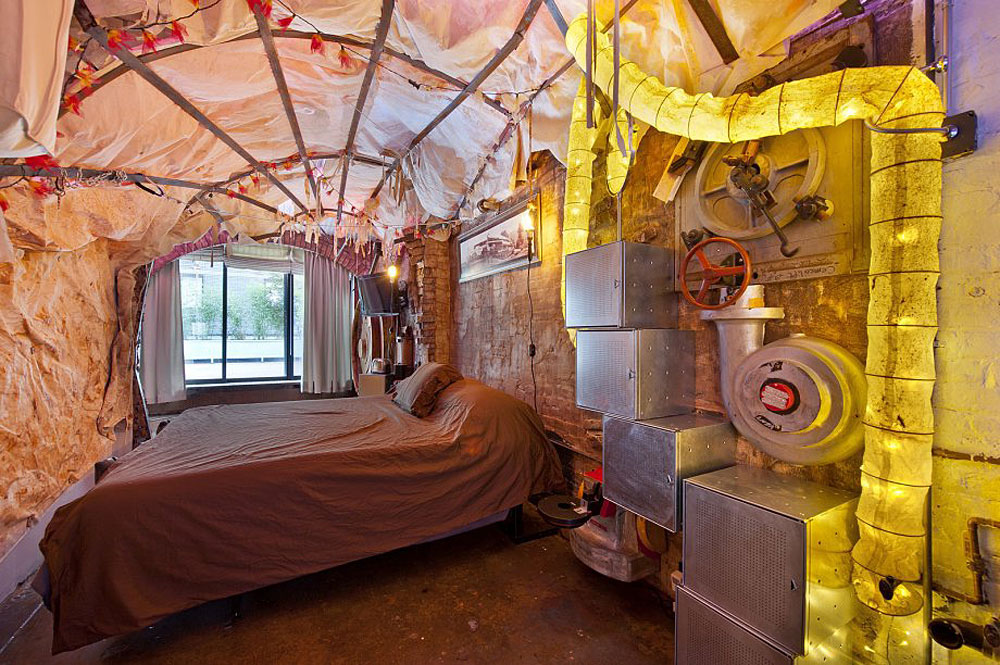 Retro futuristic steampunk loft apartment in new york for Bedroom door ideas loft apartment