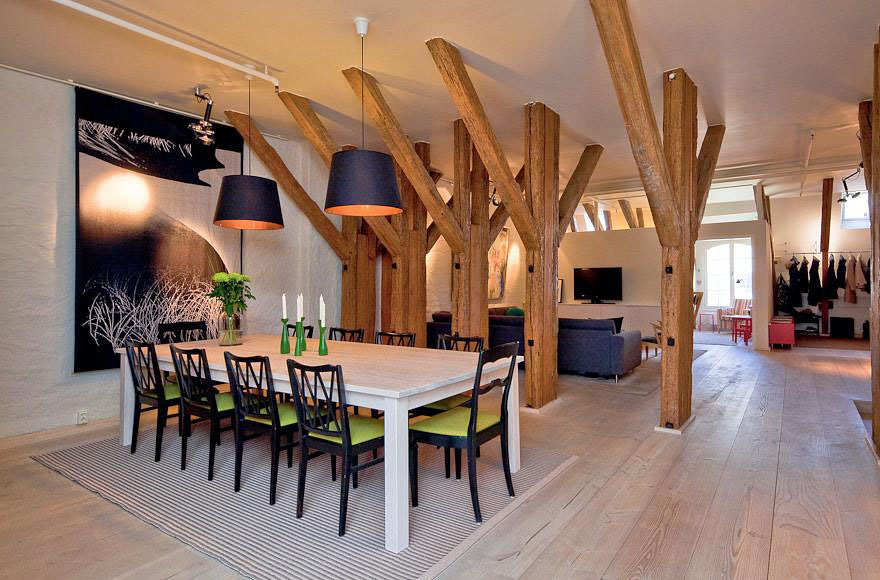 Attic Apartment with Wood beams