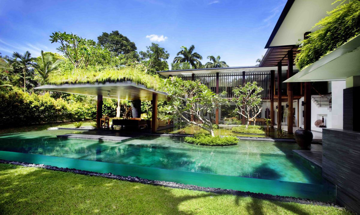 Private lush paradise by guz architects idesignarch Backyard landscape design with pool