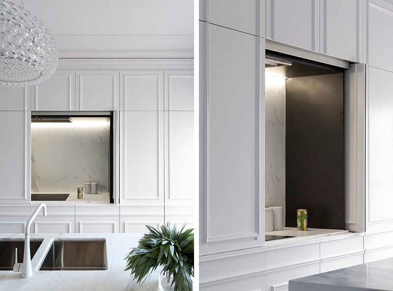 Contemporary Kitchen Hidden Behind Elegant Wall Panels
