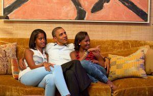 President Barack Obama with Daughters Malia and Sasha Obama