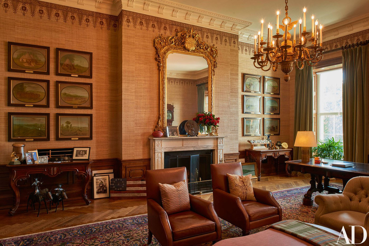 Decor stays within the elegant traditions of the white house while