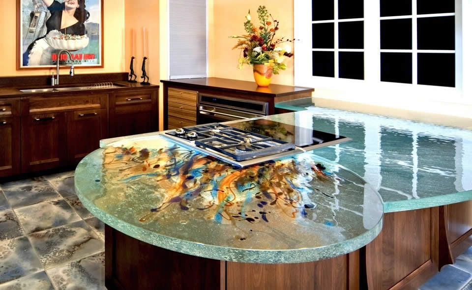 glass countertops ideas and unique solid kitchen countertop pictures