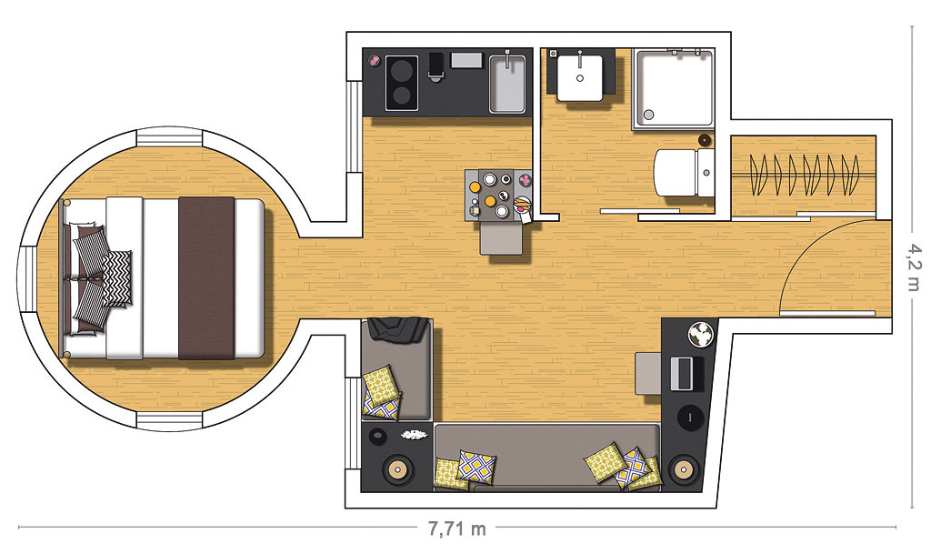 Attic Studio Apartment Floor Plan