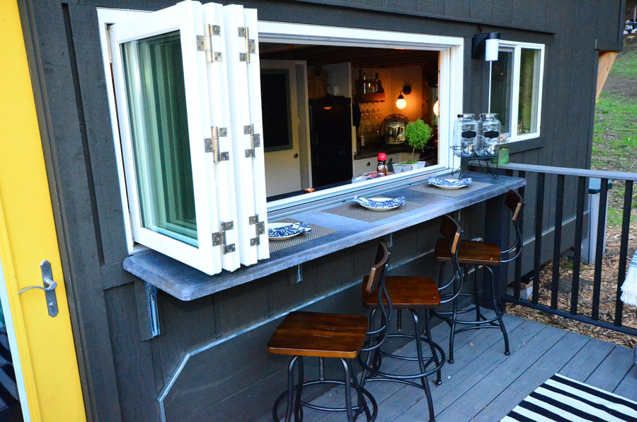 tiny house with accordion windows and outdoor bar counter - Tiny House Inside