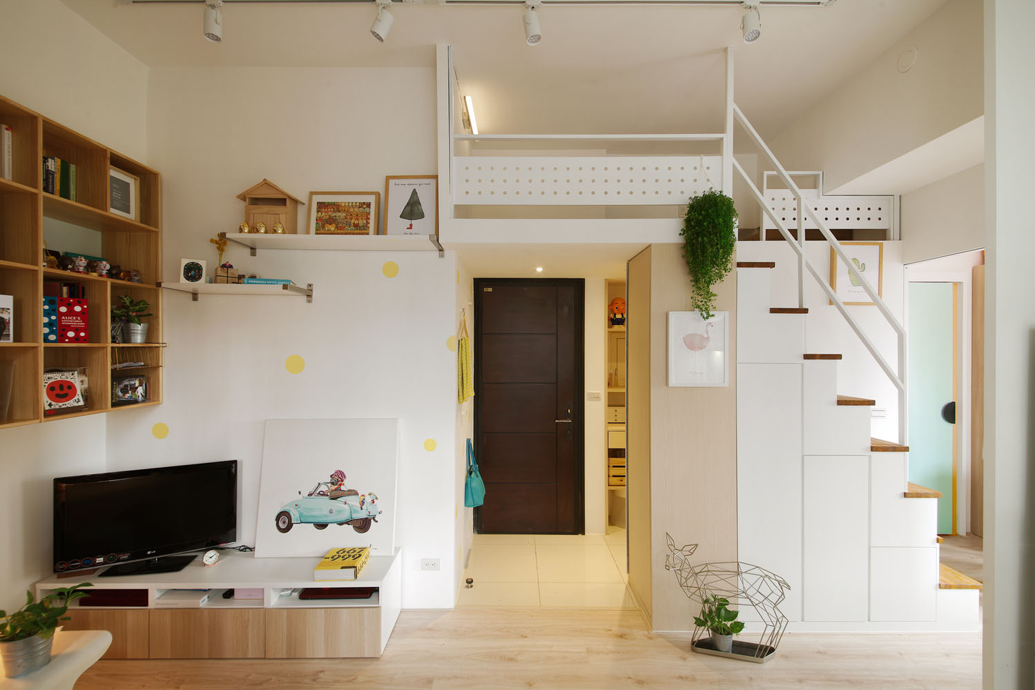 Redesigned Tiny Apartment With Loft Features A Brighter