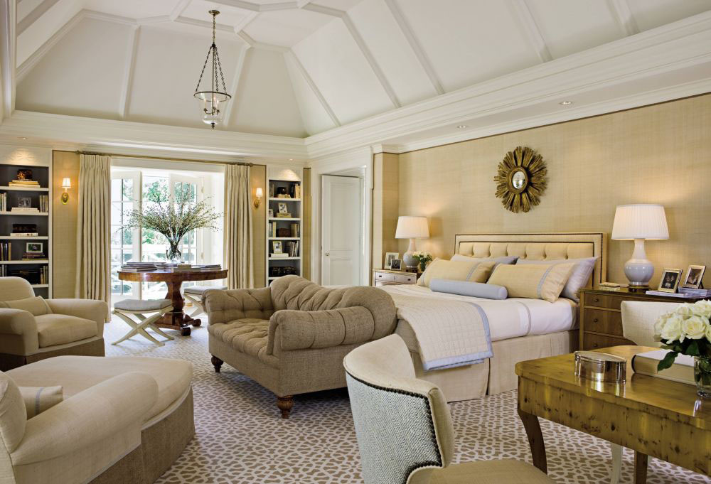 Colonial revival home classic interior decor luxurious master bedroom with modern classic style decor