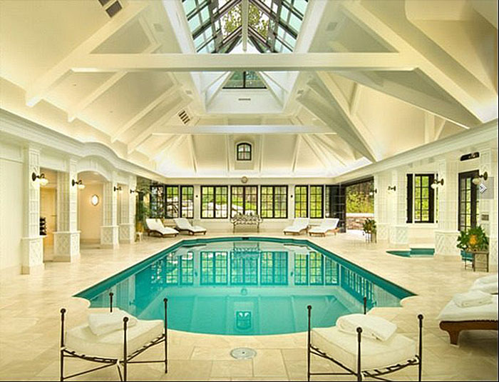 Mansion With Swimming Pool elegant private indoor glass mosaic swimming pool with atrium