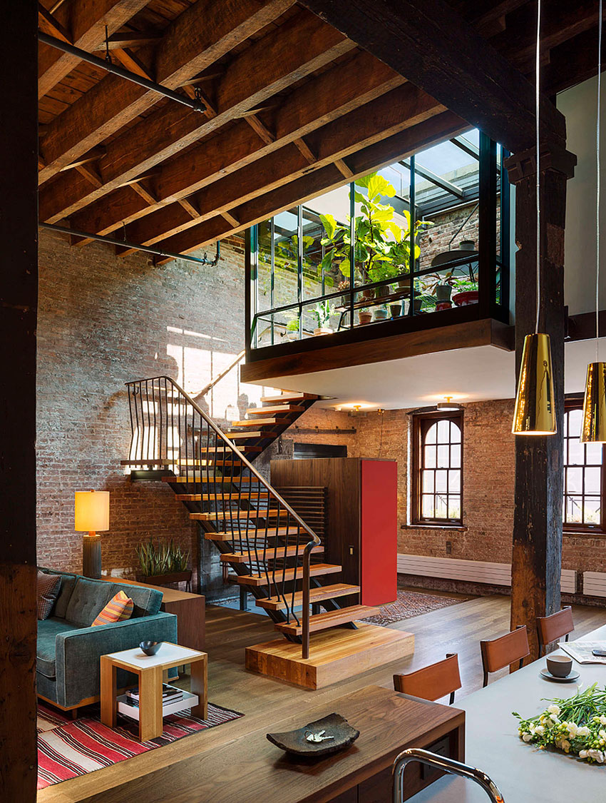 Industrial loft in tribeca with retractable glass roof - Loft industriel tribeca franz architecte ...