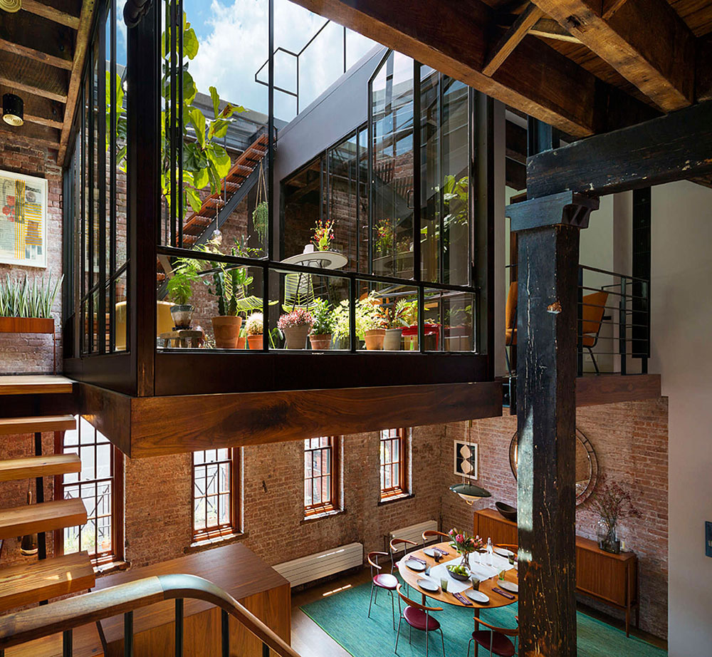 Modern Home Plans With Lofts: Industrial Loft In Tribeca With Retractable Glass Roof