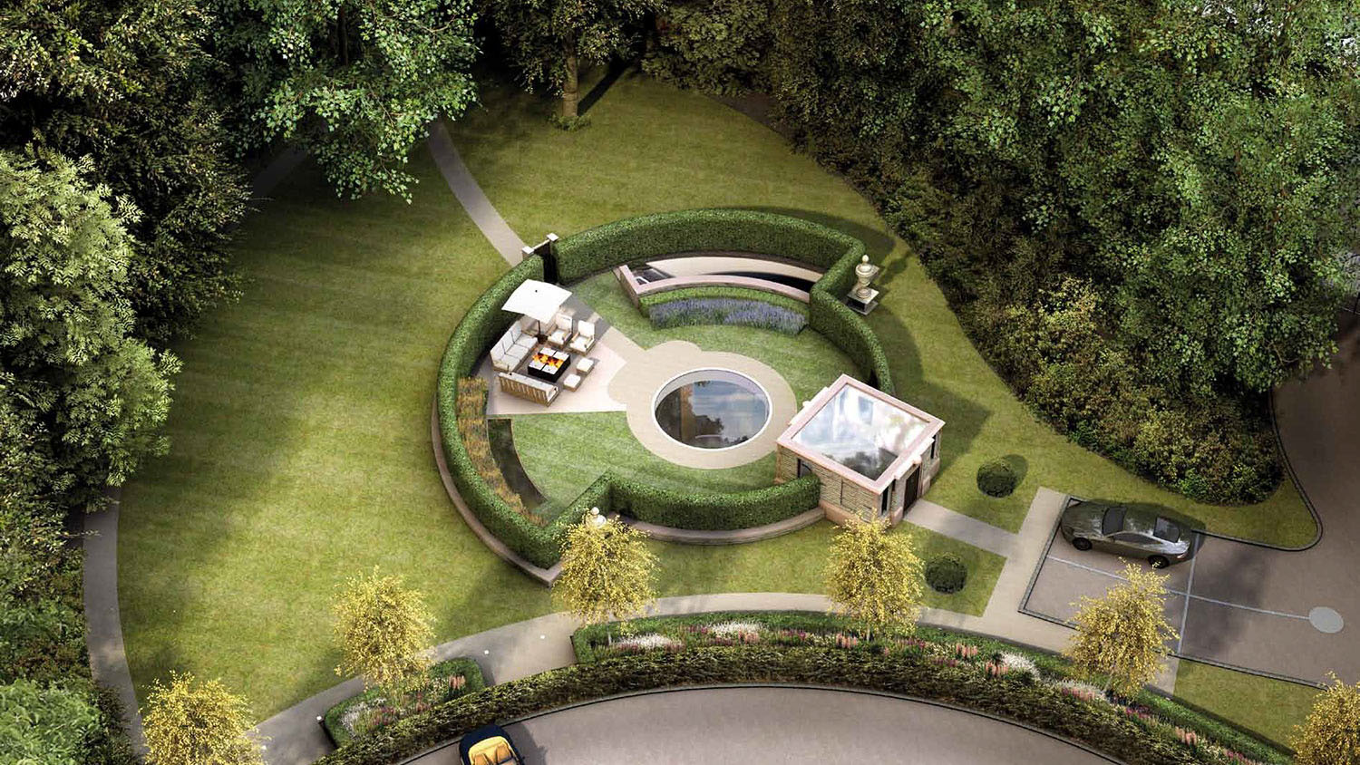 Dramatic Underground House Hidden Under A Landscaped Garden on living room entrance arch design