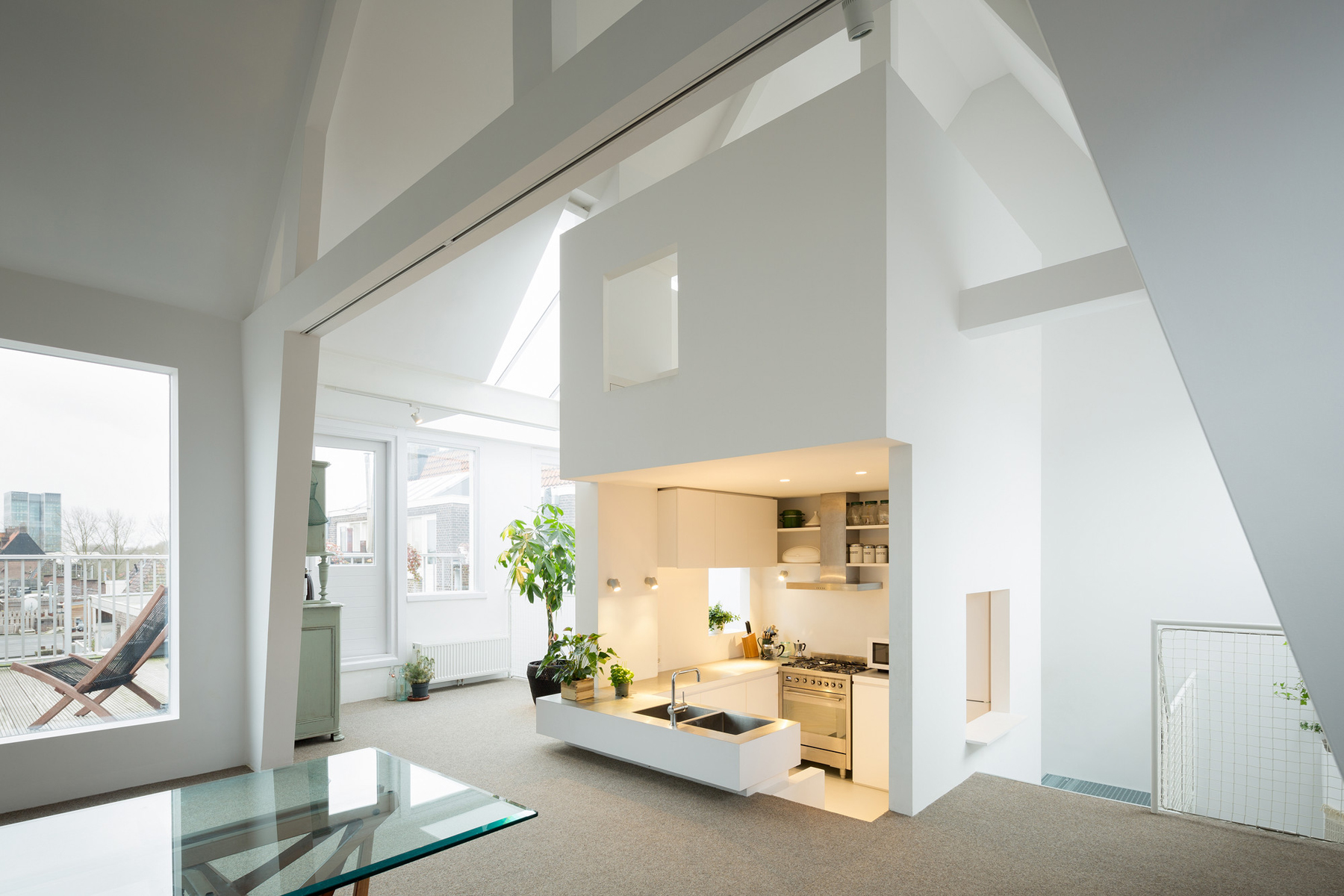 Unique modern attic duplex apartment in amsterdam with for Duplex house interior designs photos