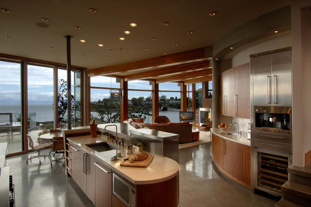 West coast modern beach house brings the outside in for Kitchen design victoria bc