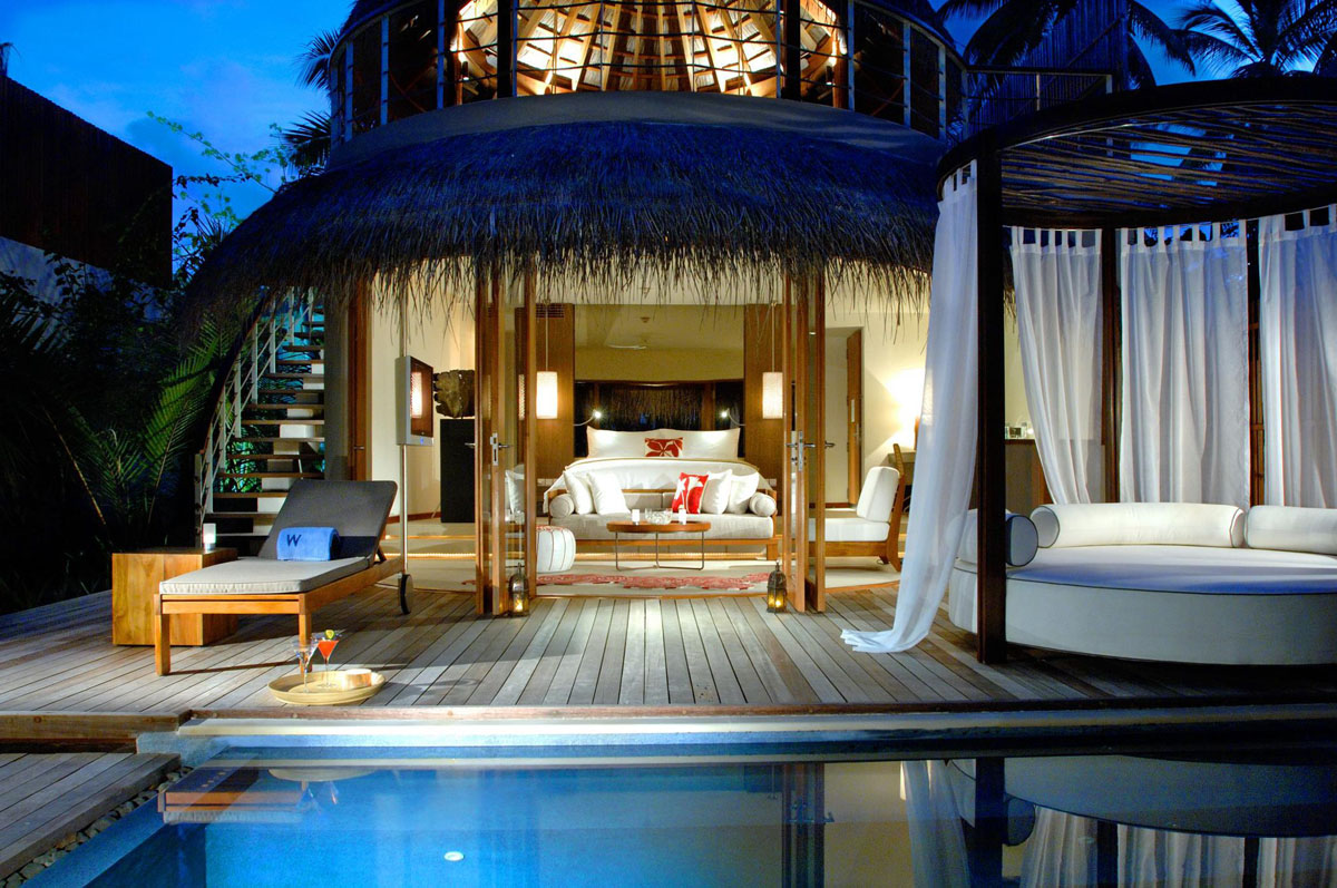 Stylish Bungalows the exotic w retreat & spa maldives with luxury bungalows