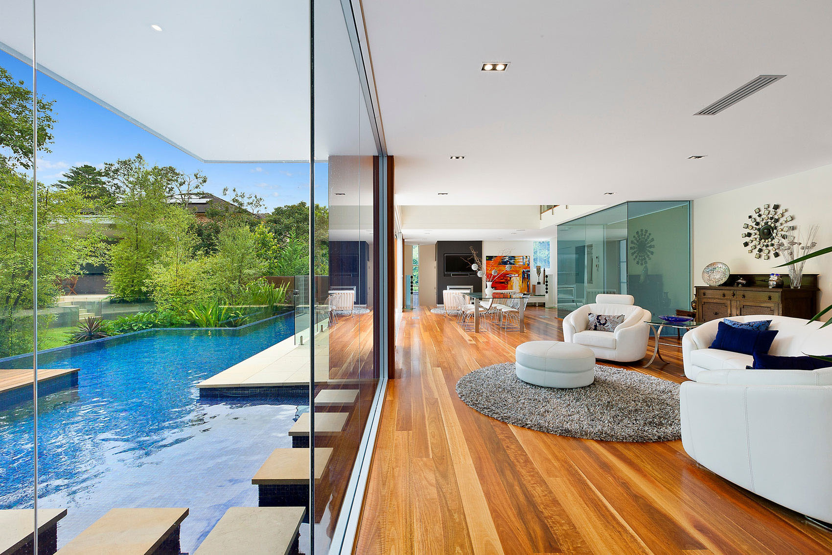 Contemporary Home with Swimming Pool by the Living Room