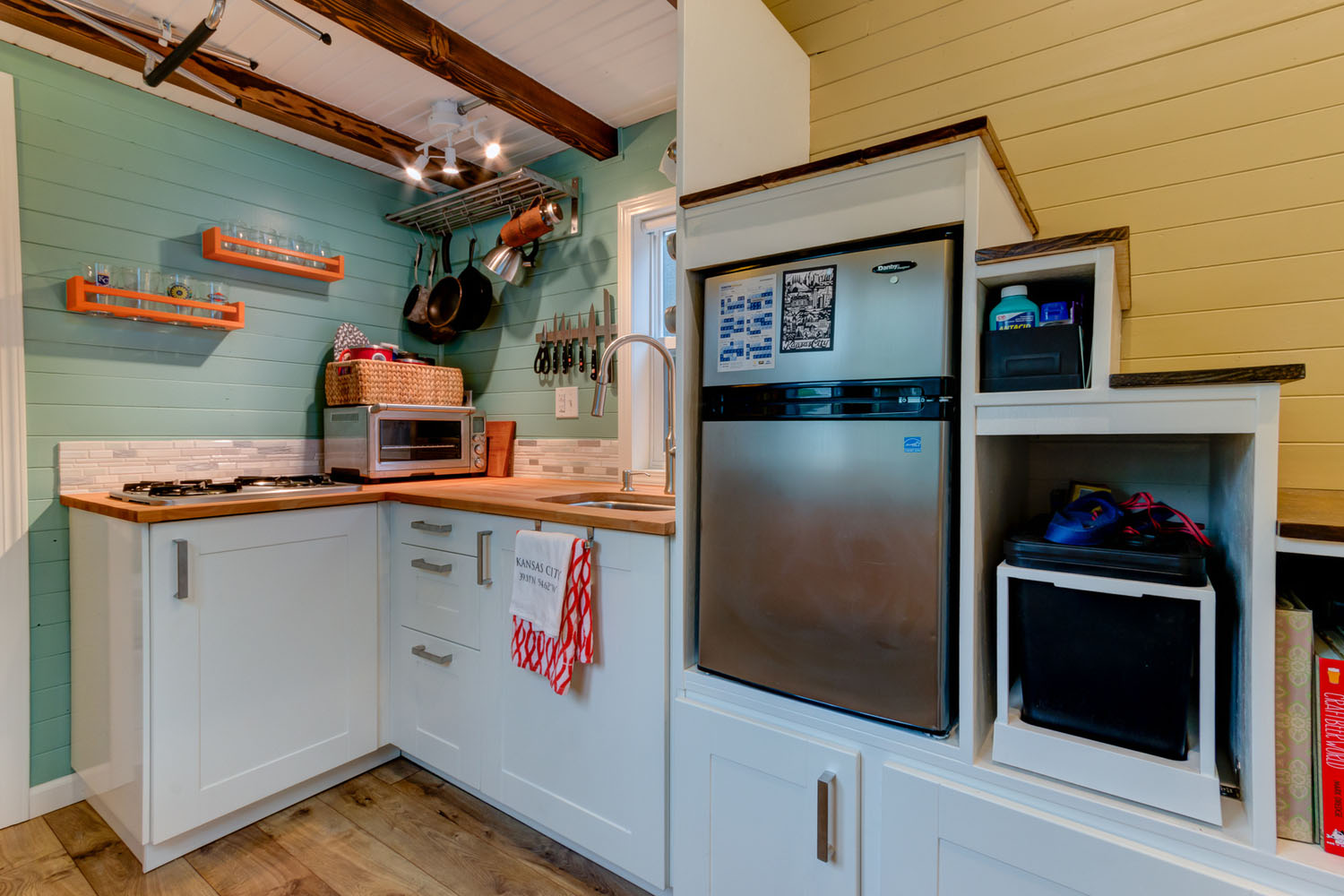 fully equipped tiny house kitchen