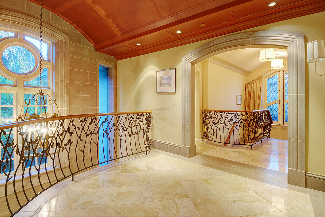 Mansion Interior Limestone Walls and Mahogany Ceiling