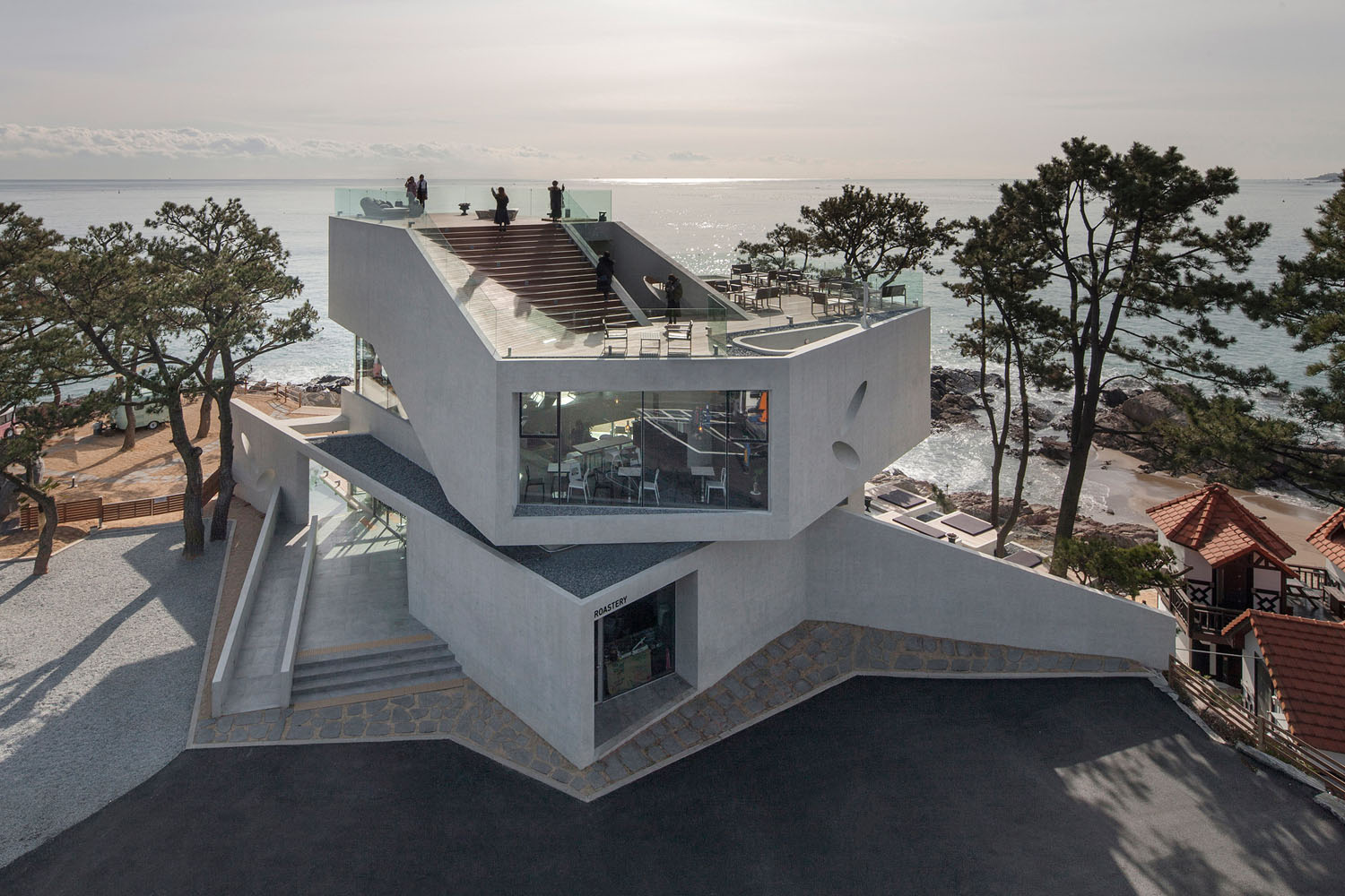 Waveon coffee house by the sea idesignarch interior for Local residential architects near me