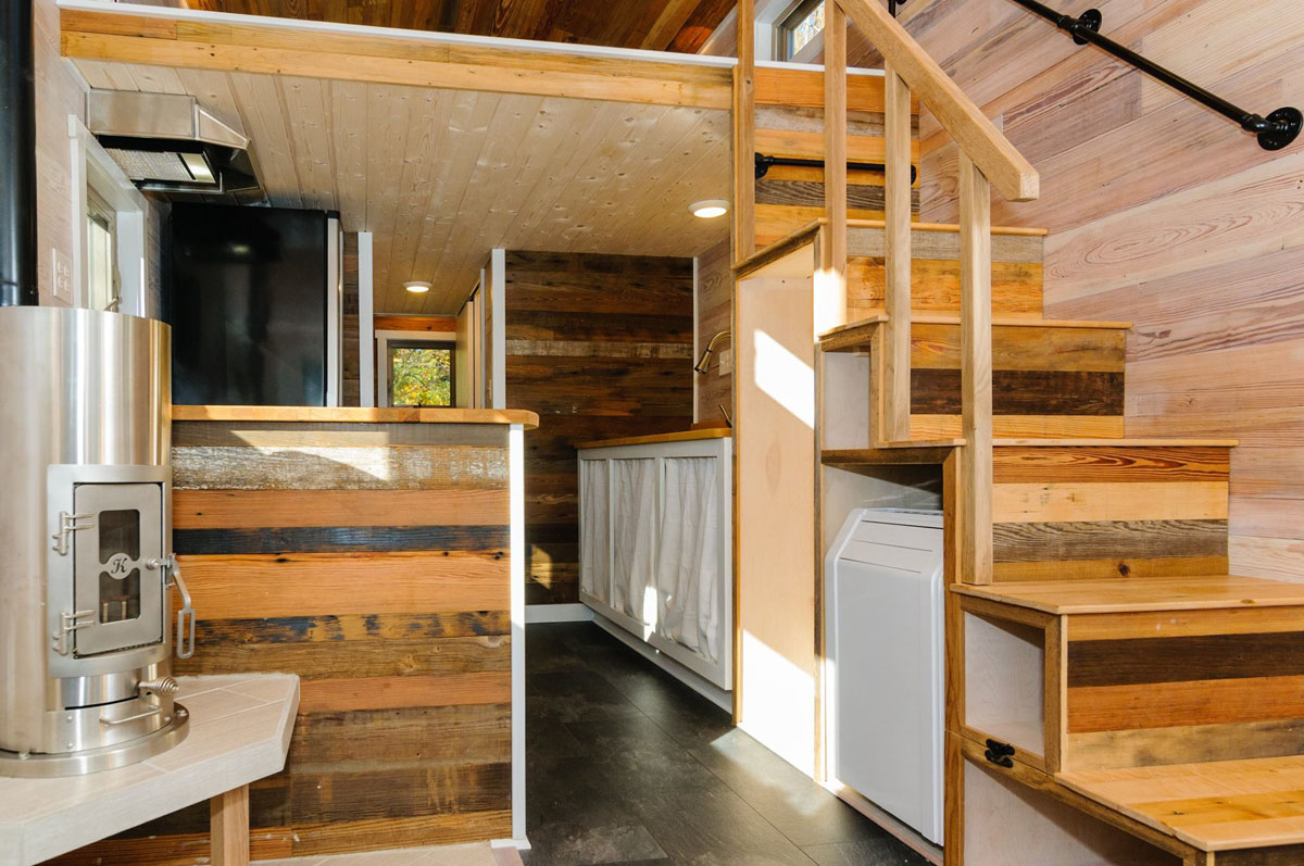Craftsman style tiny home featuring cedar siding and Interior pictures of tin homes