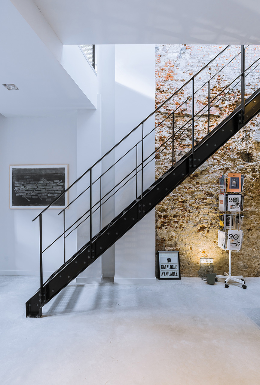 Modern Loft Apartment with Stone Wall