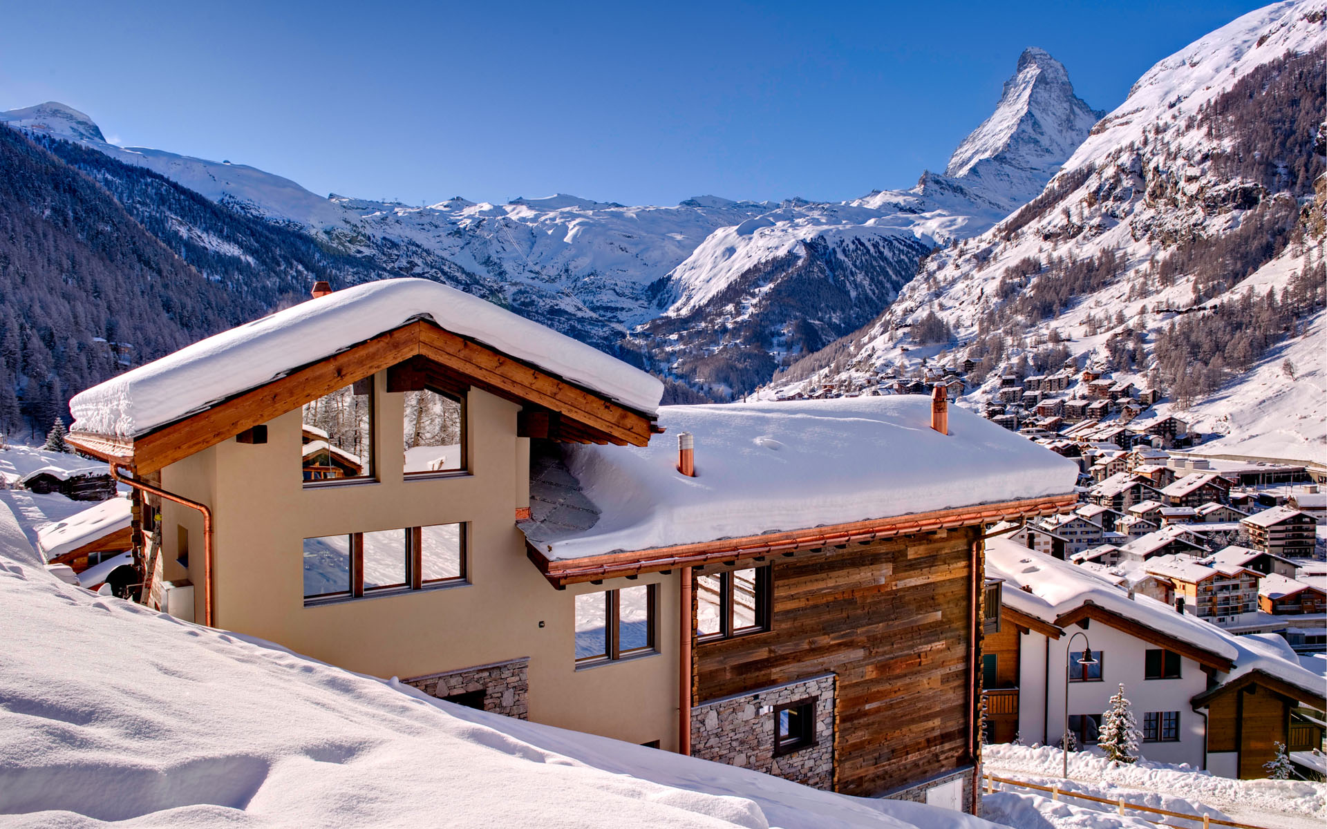 Ski Chalet in Zermatt with Matterhorn in the background