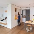 Studio Apartment with Custom Designed Natural Wood Built-In Units