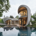 Futuristic Organically Shaped Home Balances Architectural and Natural Design
