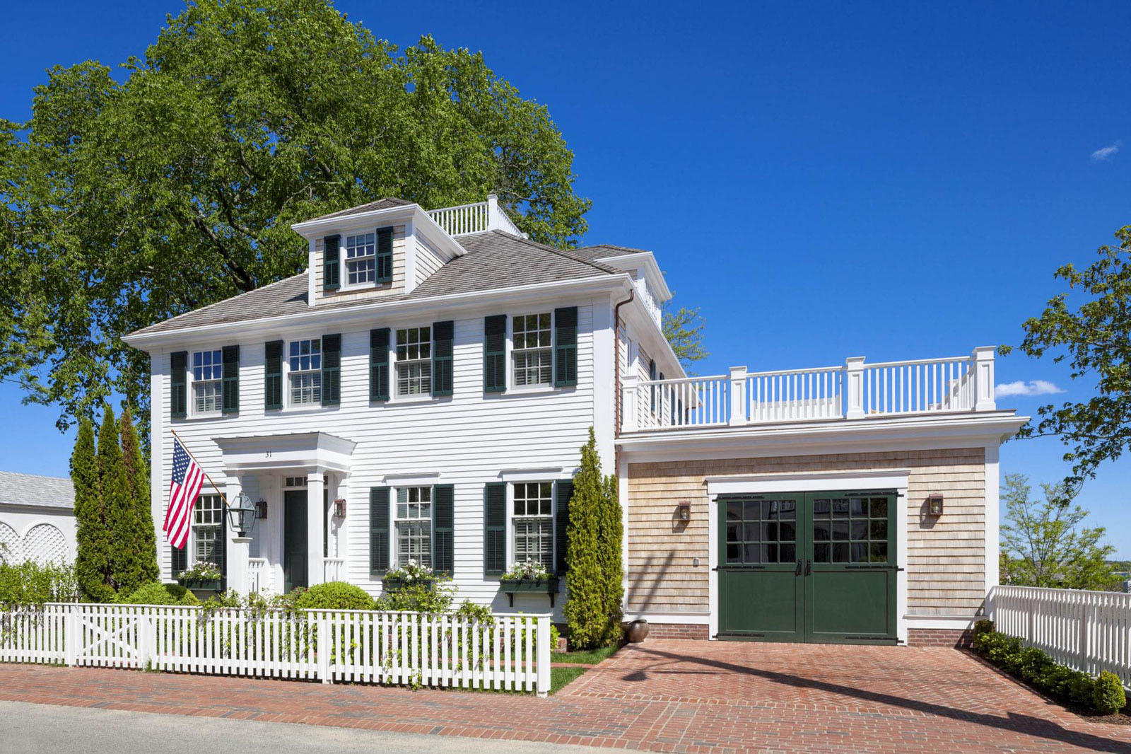 Family Home With New England Colonial Architecture On