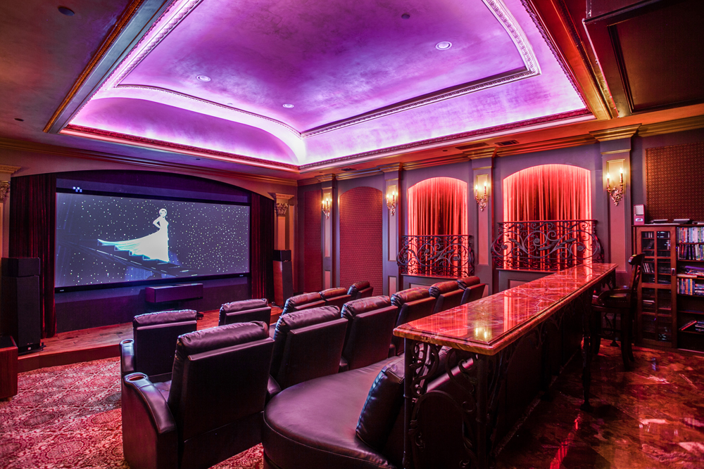 Home theater screening room with details from a Paris opera house