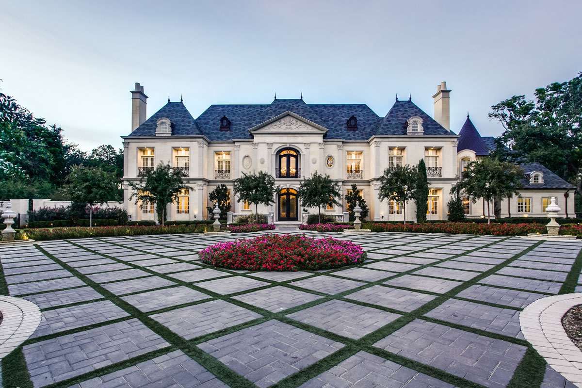 French Renaissance Chateau Style Mansion With Elegant Curb